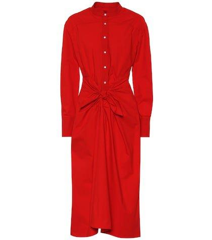 Cotton-blend midi dress