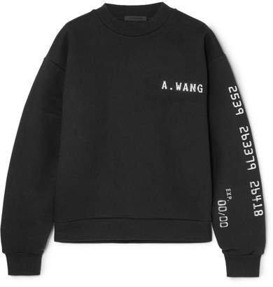 Terry Appliquéd Cotton-blend Jersey Sweatshirt - Black