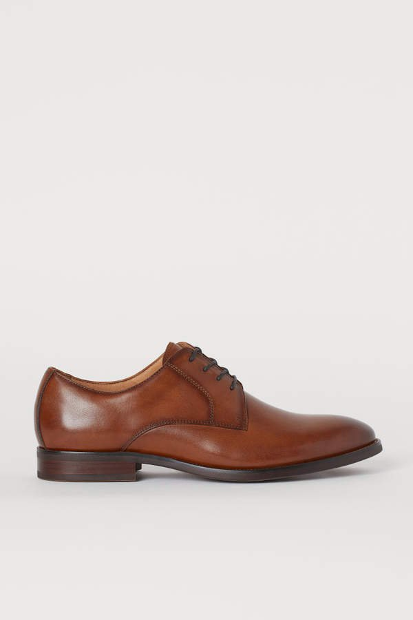 Leather Derby Shoes - Beige