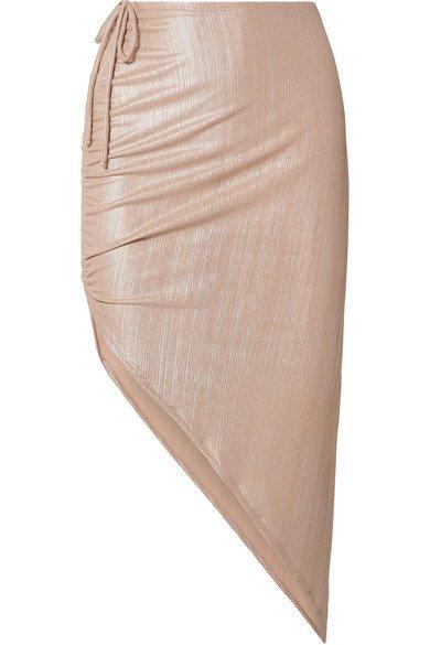 Adriana Degreas | Martini asymmetric ruched ribbed lamé skirt | NET-A-PORTER.COM