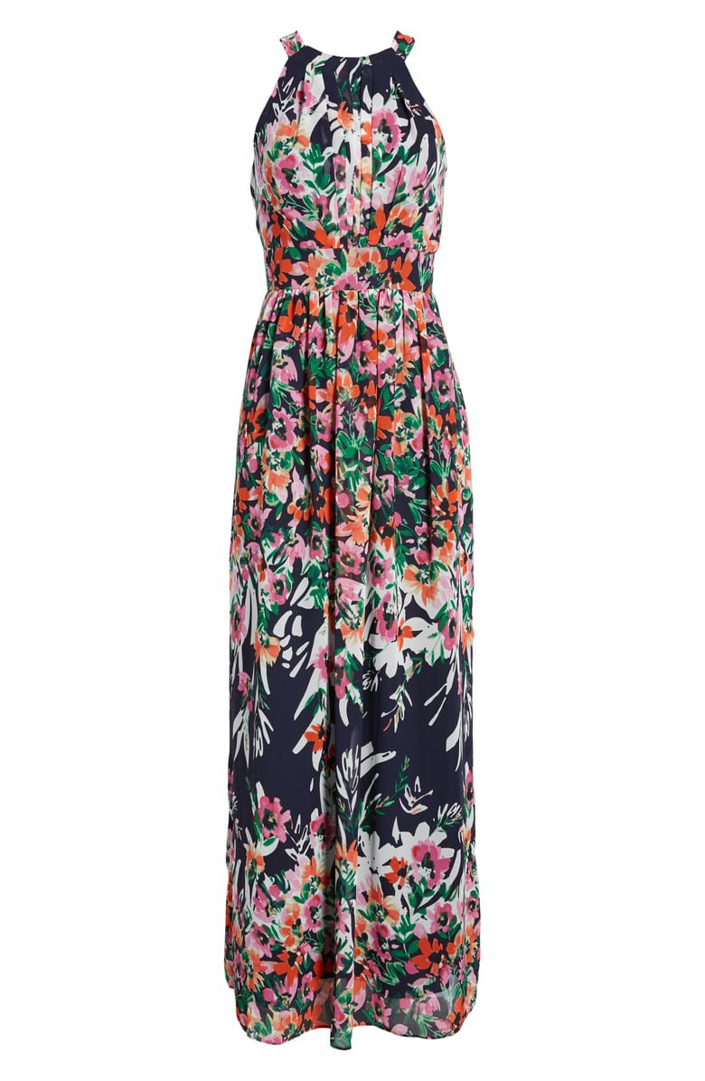 Eliza J Floral Print Chiffon Halter Maxi Dress | Nordstrom