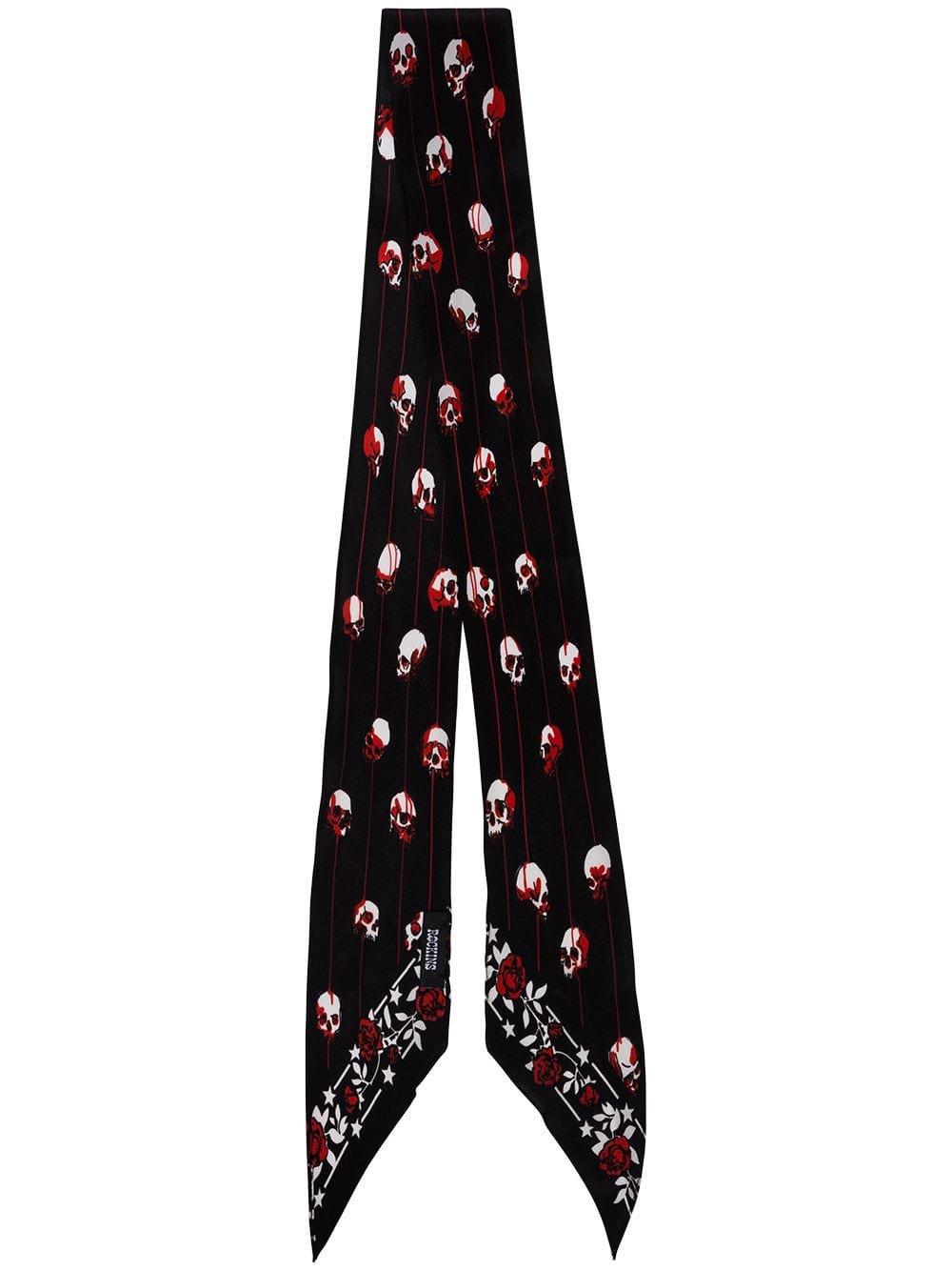 Rockins Black Print Silk Scarf | Farfetch.com