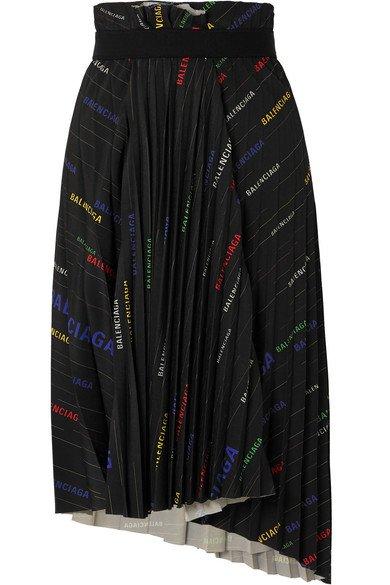Balenciaga | Asymmetric pleated printed crepe midi skirt | NET-A-PORTER.COM