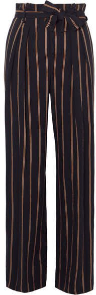 Belted Striped Crepe Wide-leg Pants - Navy