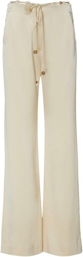 Belted Satin Wide-Leg Pants
