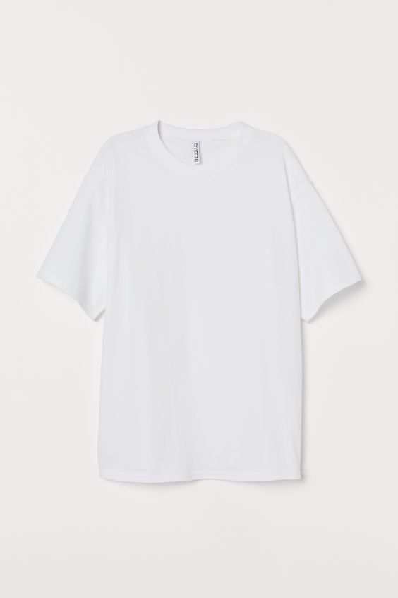 Wide-cut Cotton T-shirt - White - | H&M US