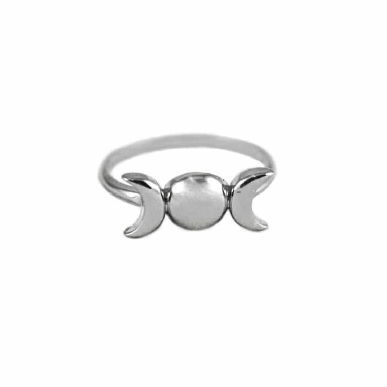 Triple Moon Goddess Sterling Silver Ring hellaholics