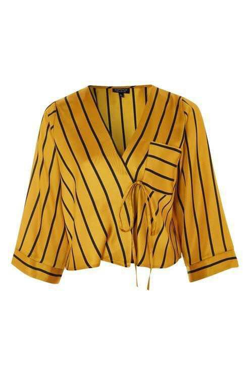 Mustard Yellow Crop Blouse With Black Stripes