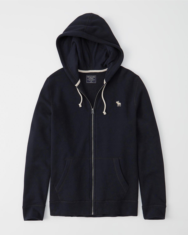 navy blue zip-up hoodie