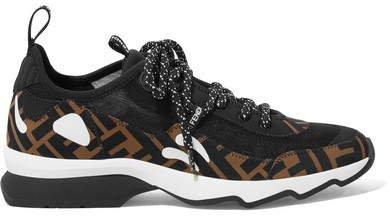 Logo-print Appliquéd Neoprene And Mesh Sneakers - Black