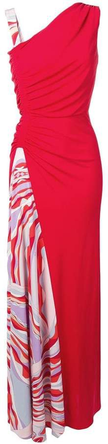 Burle Print Ruched Maxi Dress
