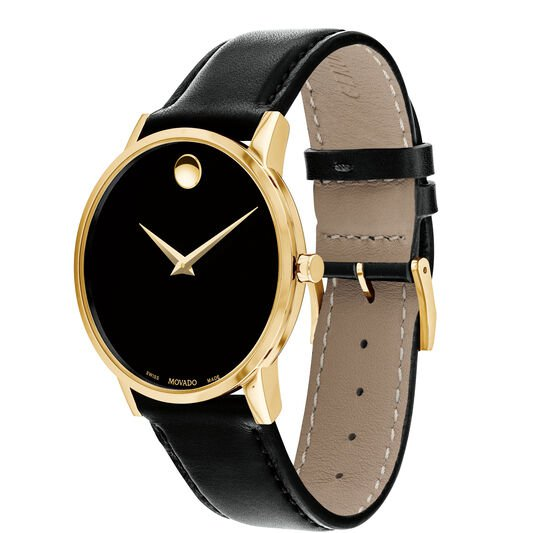 Movado | Museum Classic Men's Gold PVD Watch With Black Strap