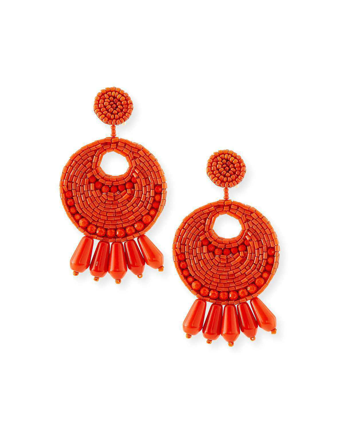 Kenneth Jay Lane Seed-Bead Tassel Clip Earrings, Coral | Neiman Marcus