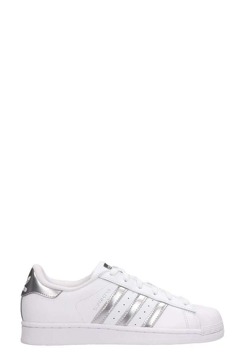 Adidas White Leather Superstar Sneakers