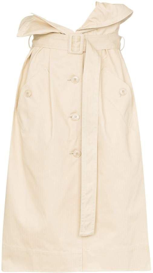 high waist denim midi skirt
