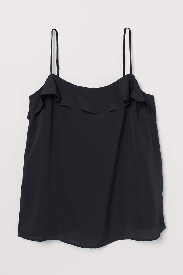Camisole Top with Flounce - Black