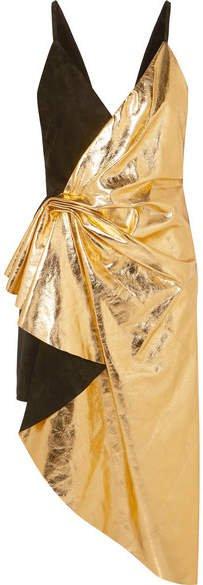 Asymmetric Suede And Metallic Leather Mini Dress - Black