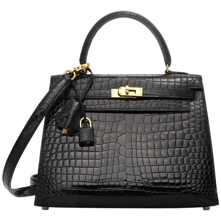 Black shiny porosus crocodile leather Hermes Kelly Sellier 25 Bag at 1stdibs