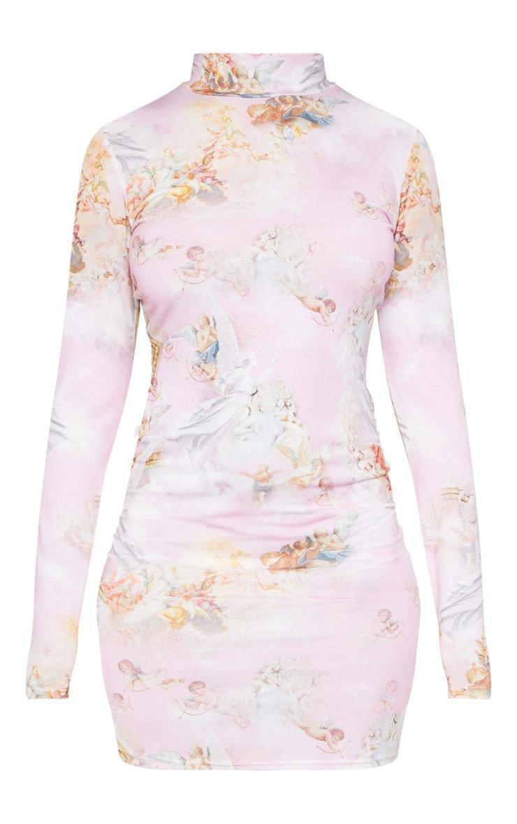 Pink Renaissance Long Sleeve Bodycon Dress | PrettyLittleThing