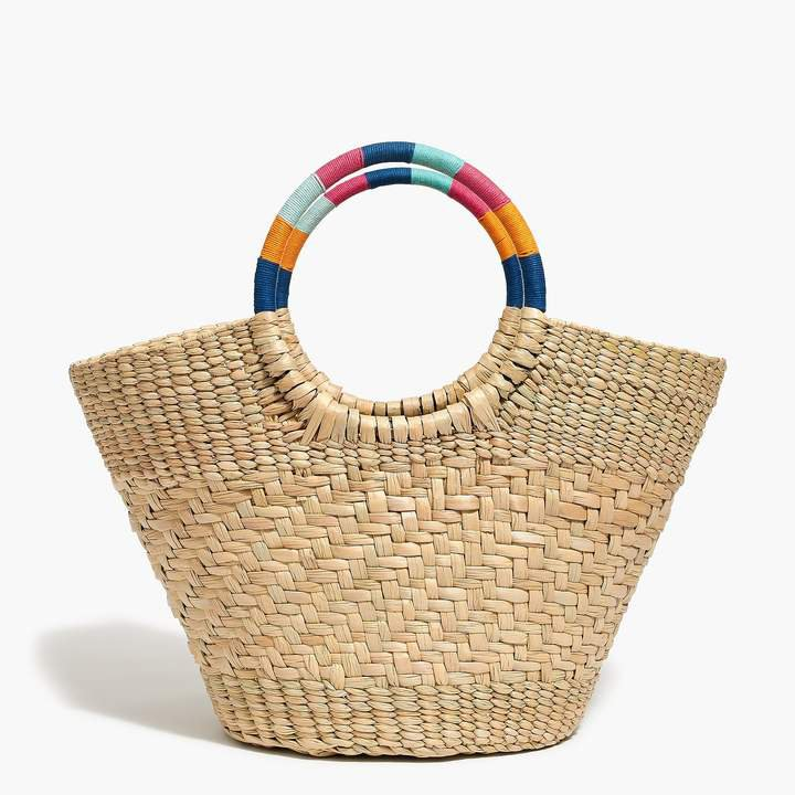 Colorful handle straw tote bag
