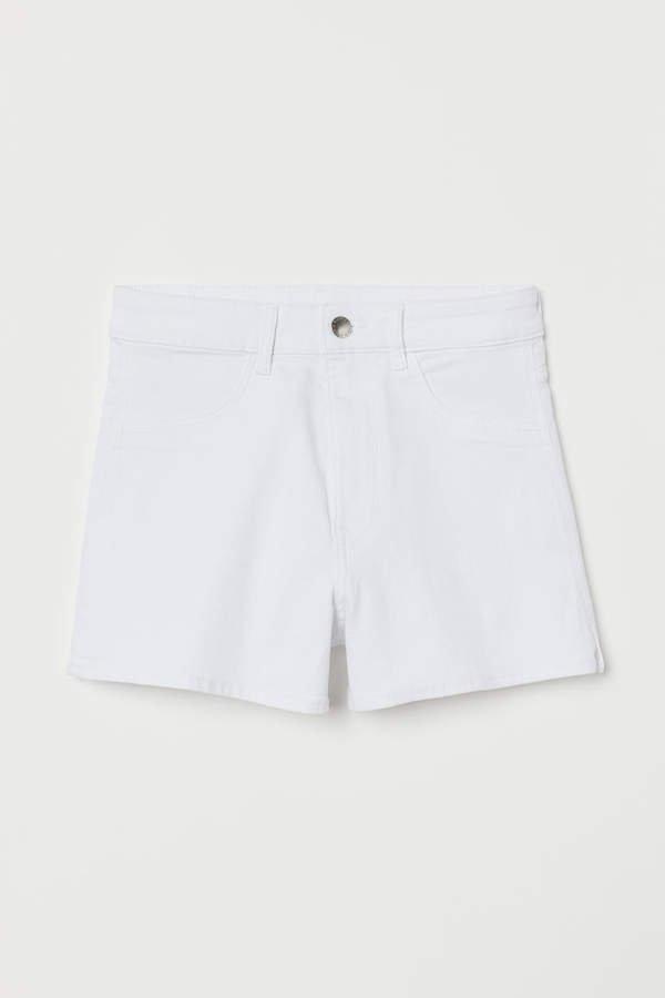 Denim Shorts High Waist - White