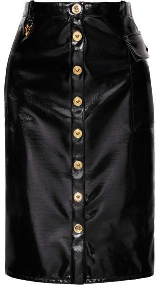 Vinyl Midi Skirt - Black