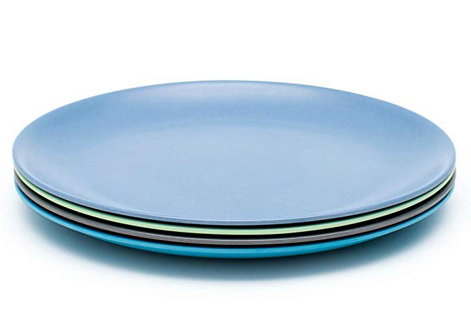 BOBO&BOO Adult-Sized (10inch) Eco Friendly Bamboo Plates for Adults & Kids   4 Set   Durable Bamboo Dinnerware Set for Home, Picnic & Party Time – BPA Free – Dishwasher Safe - FDA Approved - Coastal: Amazon.ca: Baby