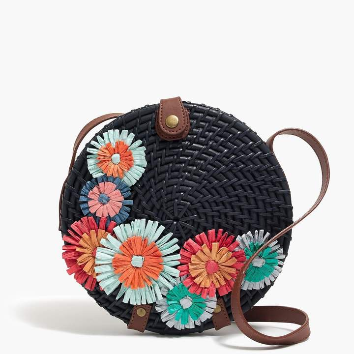 Straw floral circle crossbody bag