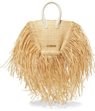 Le Petite Baci Small Leather-trimmed Fringed Raffia Tote - Beige