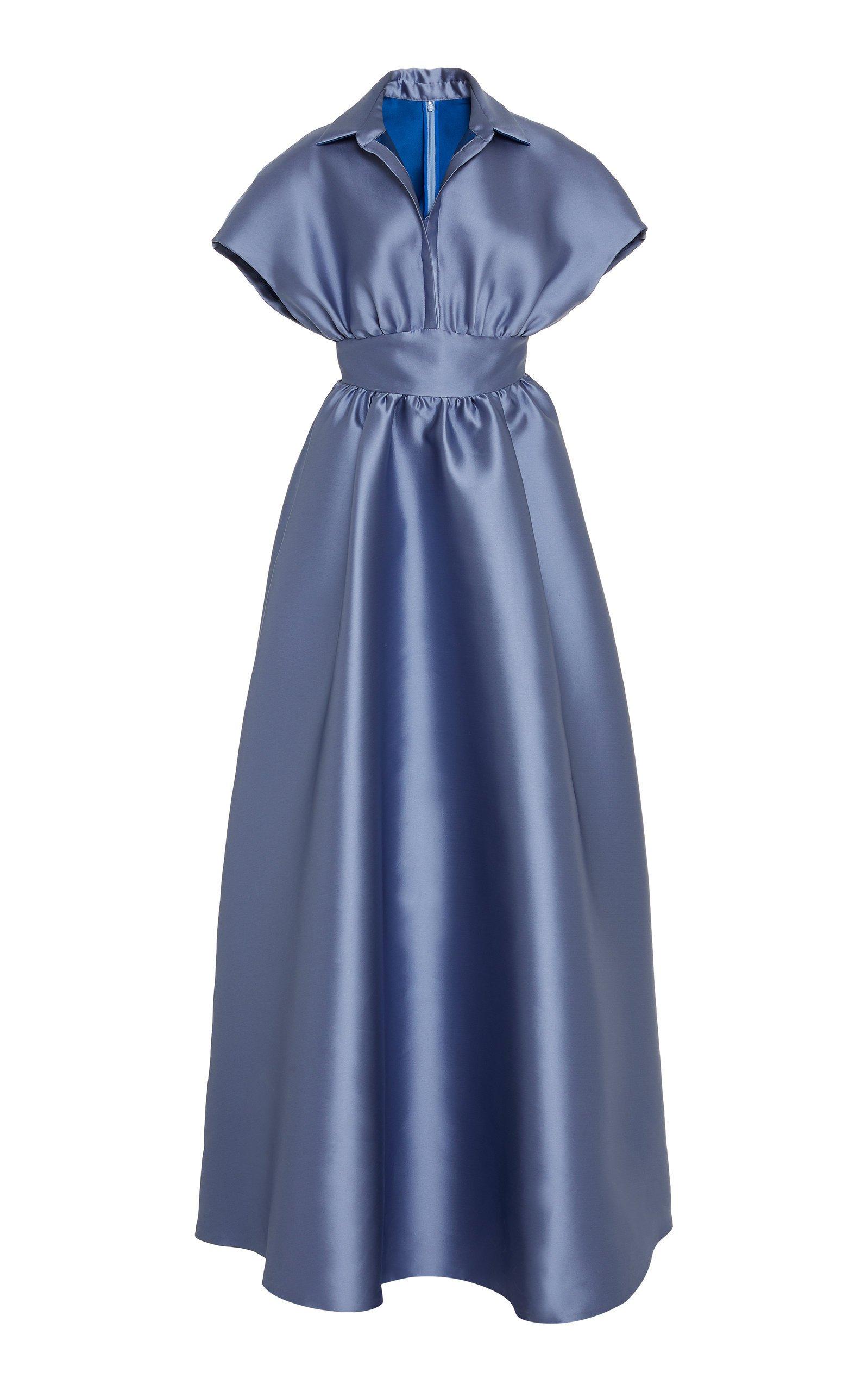 Lela Rose Duchess Satin Shirt Waist Dress
