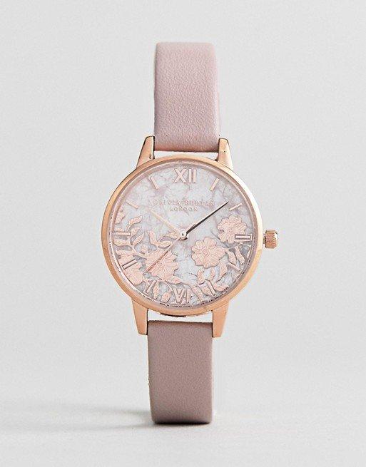 Olivia Burton OB16MV84 Semi Precious Rose Quartz Watch In Pink