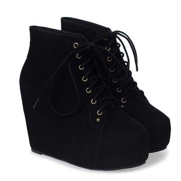 Black Laced Boot Wedges