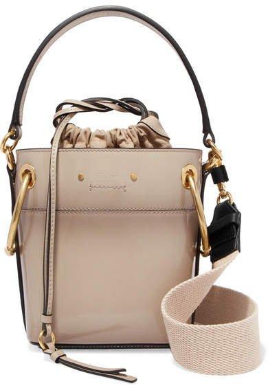 Roy Mini Patent-leather Bucket Bag - Gray