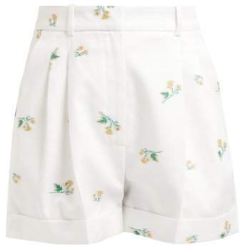 Racil - Max Floral Cotton Blend Twill Shorts - Womens - White Multi