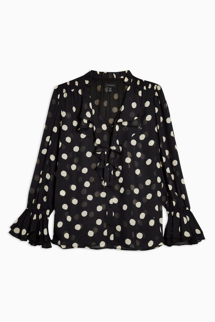 IDOL Black Spot Print Blouse | Topshop