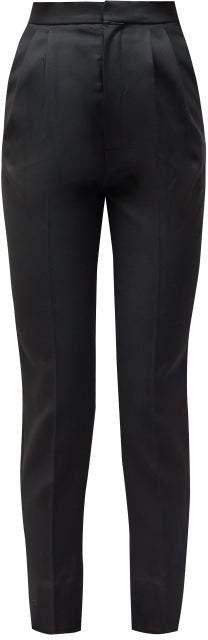 High Rise Wool Trousers - Womens - Black