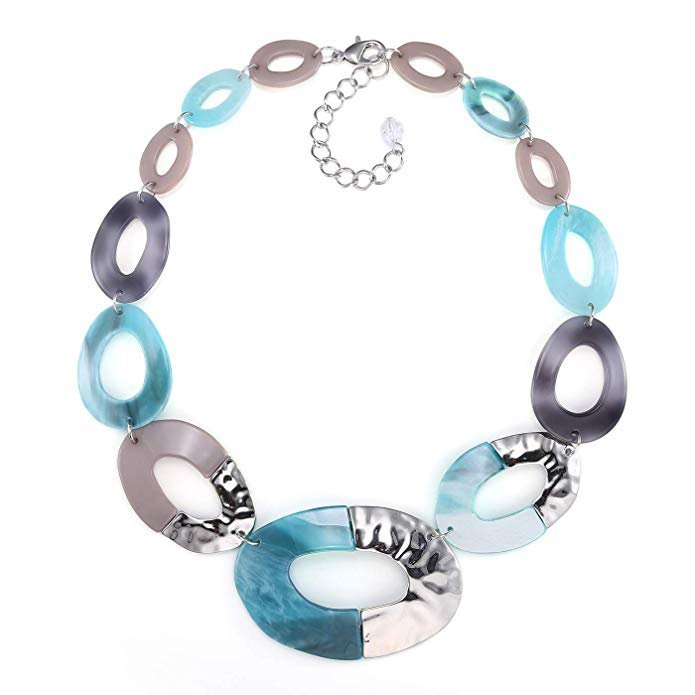 Amazon.com: FAMARINE Acrylic Chain Long Necklace, Aqua Bohemia Chunky Resin Metal Long Necklace for Women Gifts: Clothing