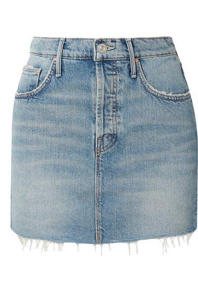Mother   The Vagabond distressed denim mini skirt   NET-A-PORTER.COM