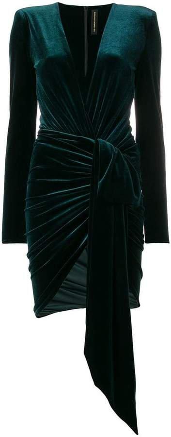V-neck ruched mini dress