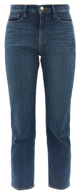 Le Sylvie Straight Leg Cropped Jeans - Womens - Dark Blue