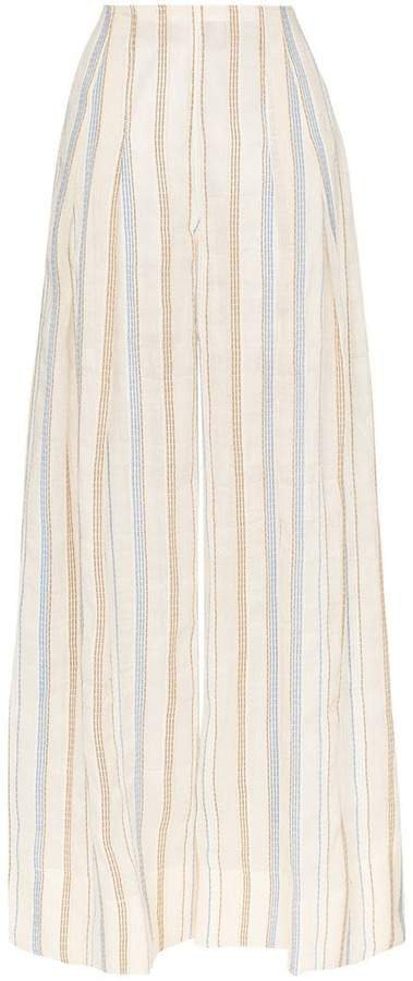 stripe embroidered high waisted wide leg trousers