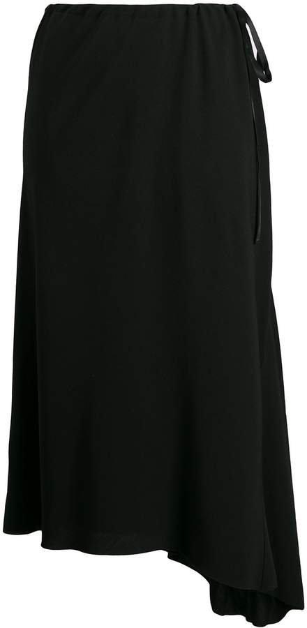 high-waisted asymmetric skirt