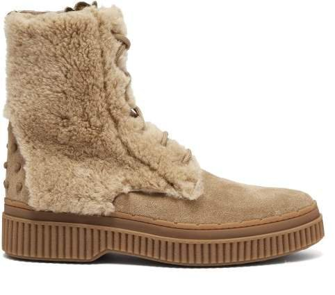 Shearling And Suede Ankle Boots - Womens - Light Tan