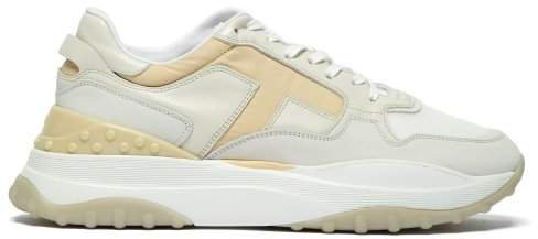 Sport Leather And Mesh Low Top Trainers - Womens - White