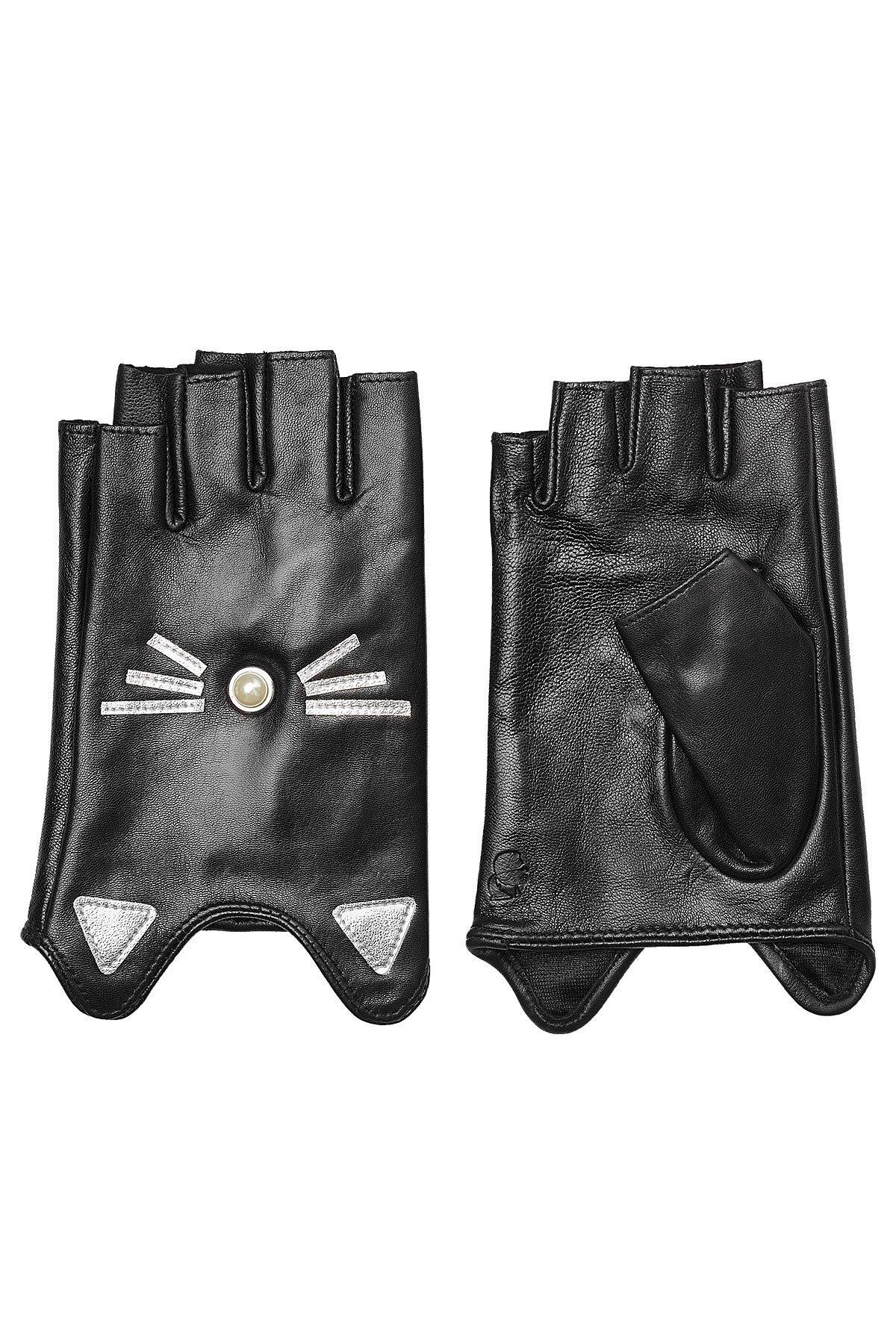 K/Ikonik Embellished Fingerless Leather Gloves Gr. M/L