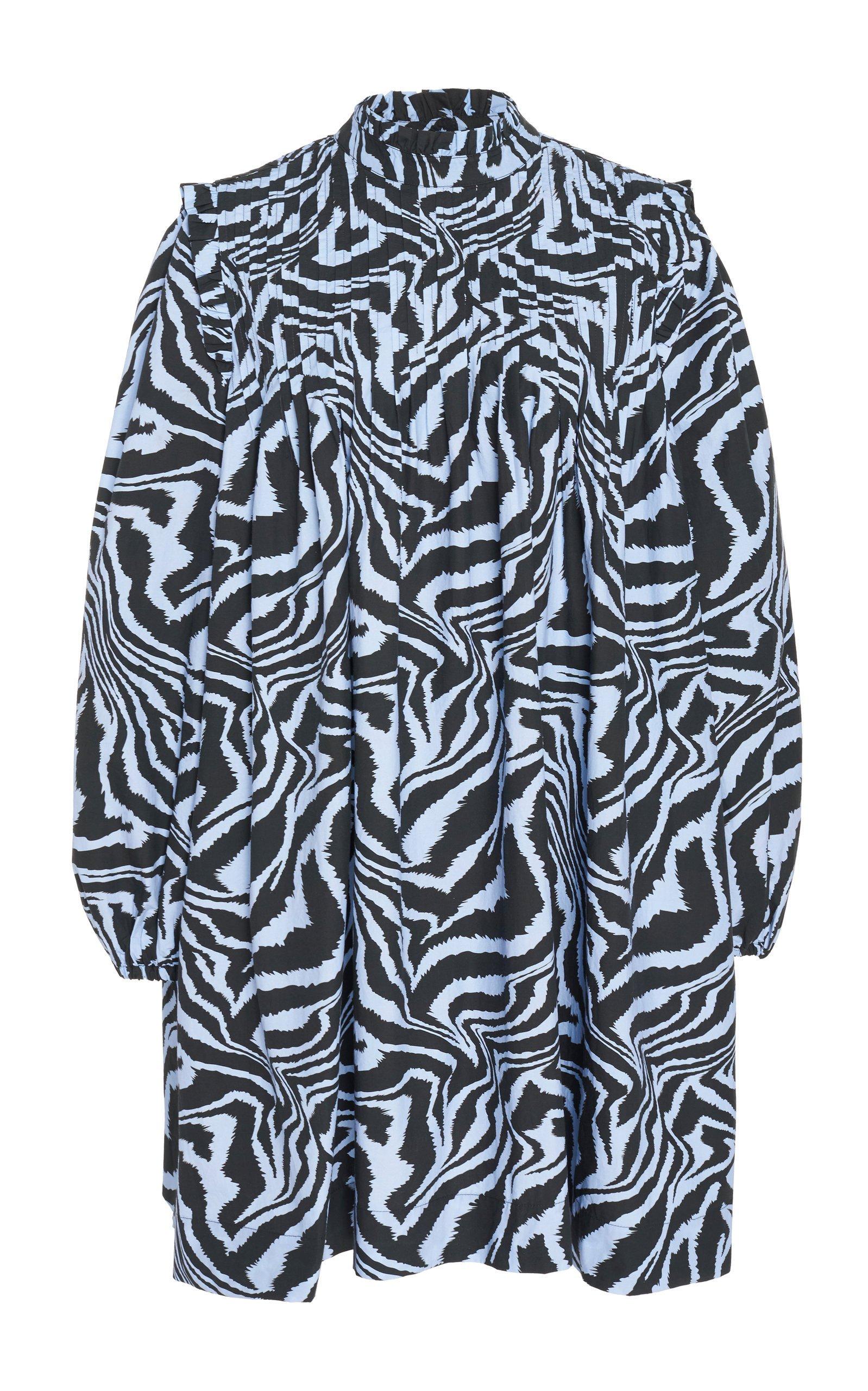 Ganni Leopard-Print Poplin Shift Dress