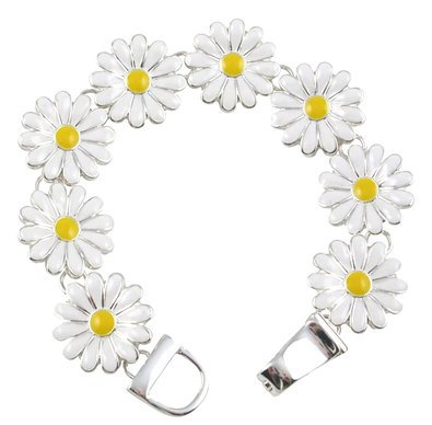 Buy Silver Tone Magnetic Clasp White and Yellow Enamel Daisy Flower Floral Charm Bracelet Women and Teens in Cheap Price on Alibaba.com