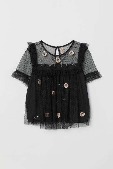 Mesh Blouse with Sequins - Black