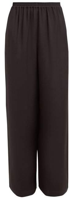 Wide Leg Silk Crepe Trousers - Womens - Black