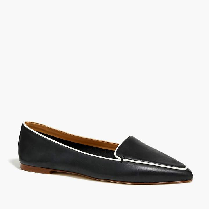 Edie leather loafers with piping